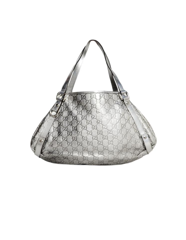 a3253bc8371a92 Gucci Abbey Metallic Embossed Monogram Silver Leather Tote Tradesy