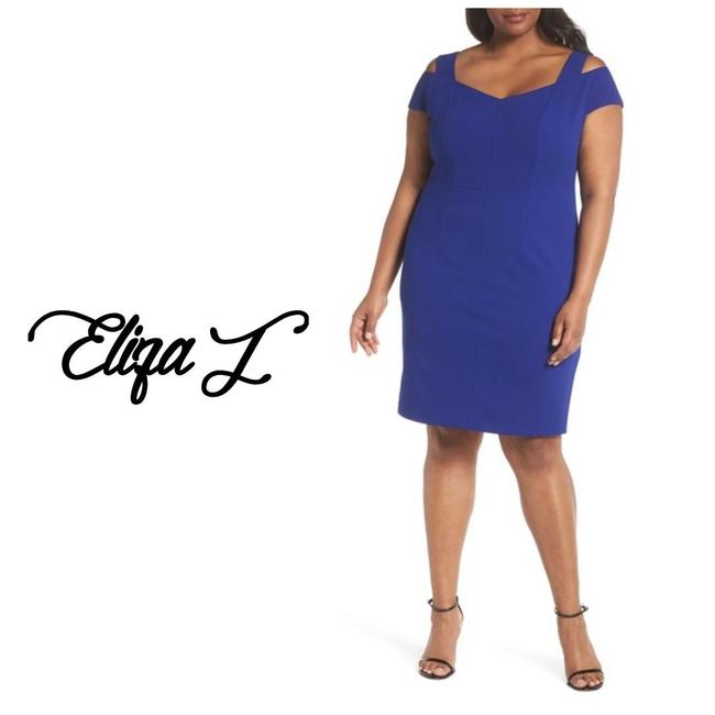 Preload https://img-static.tradesy.com/item/25142867/eliza-j-blue-cold-shoulder-crepe-sheath-mid-length-cocktail-dress-size-20-plus-1x-0-0-650-650.jpg