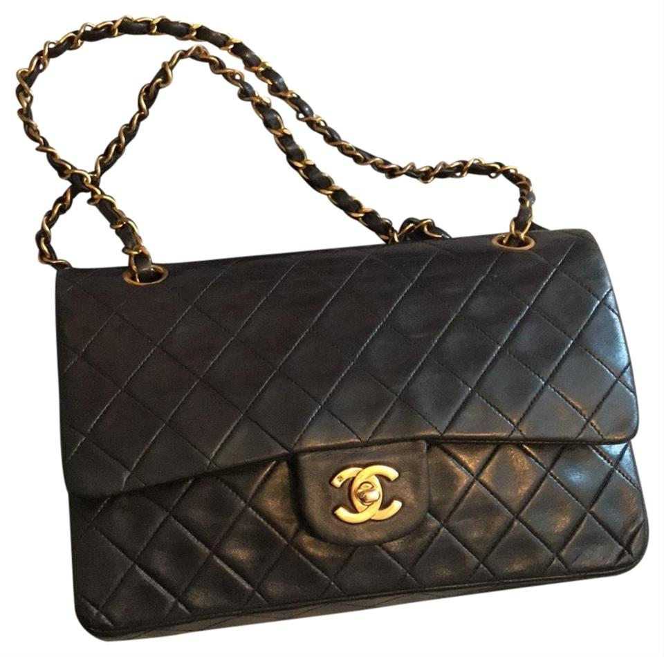 89b2999559ed Chanel Classic Double Flap Quilted Medium Black Lambskin Leather Shoulder  Bag