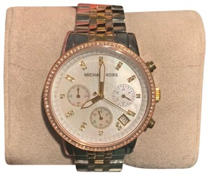 23d5d72614d5 Michael Kors New Michael Kors MK5650 Ritz Chrono Mother of Pearl Dial Three  Tone Women s Watch