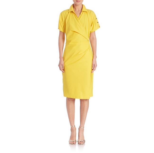 Item - Yellow Fred Ruched Cotton Poplin Mid-length Cocktail Dress Size 12 (L)