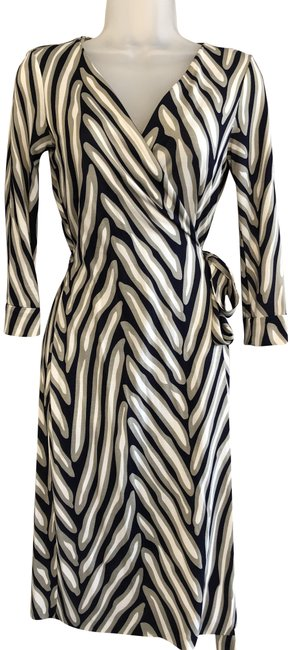 Item - Navy/Gray/White Print Classic Wrap Mid-length Short Casual Dress Size 4 (S)