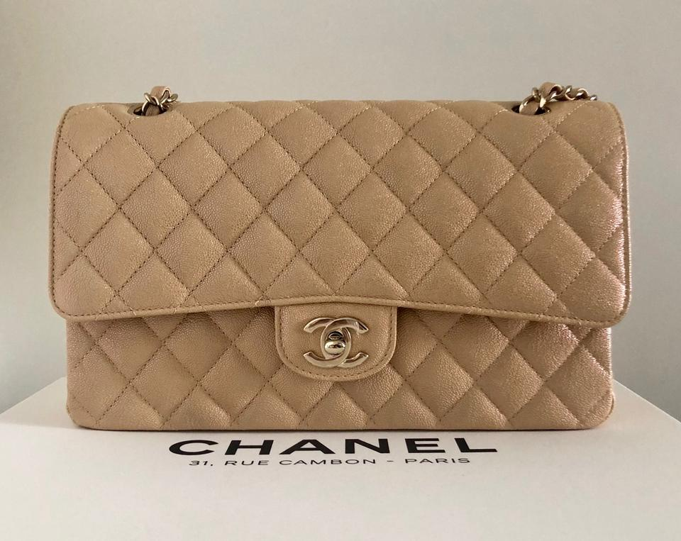 good texture new product classic styles Chanel Classic Flap Medium Beige Iridescent Caviar Shoulder Bag ...