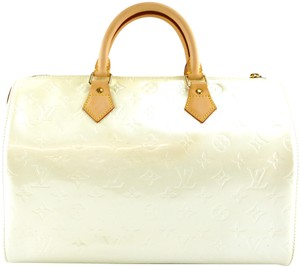 Louis Vuitton Lv Speedy Monogram Vernis Satchel in Cream