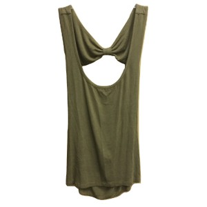 Emma & Sam Sleeveless Bow Detail Open Back Cotton Top Olive Green