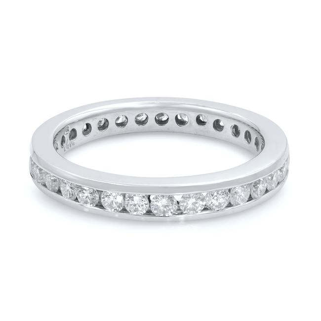 Item - White 0.60ct 14k Gold Round Cut Channel Set Anniversary Ring