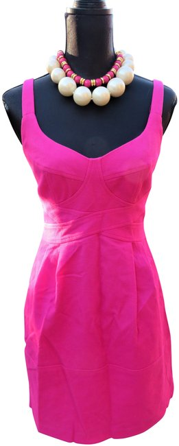 Item - Pink Cotton Mid-length Short Casual Dress Size 6 (S)