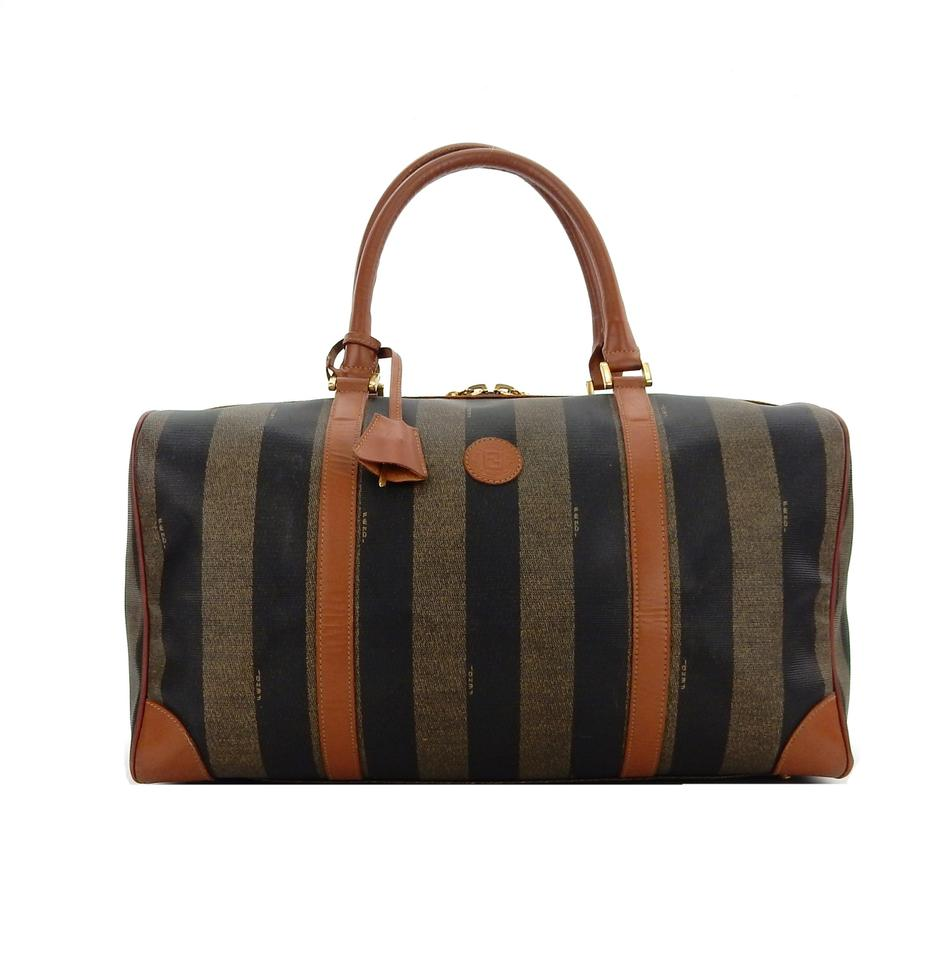 4d4372802486 Fendi Duffel Brown Pequin Striped Canvas Leather Weekend Travel Bag ...