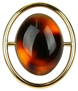Saint Laurent Large Oval Brown Tortoise Shell Gold Ring 06 RNG 439960 8027S