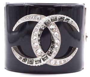Chanel Ultra Rare Large Wide CC crystals resin Cuff Bracelet Bangle
