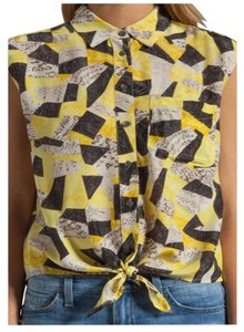 0790a682403df Equipment Silk Snakeskin Sleeveless Button Down Shirt Yellow