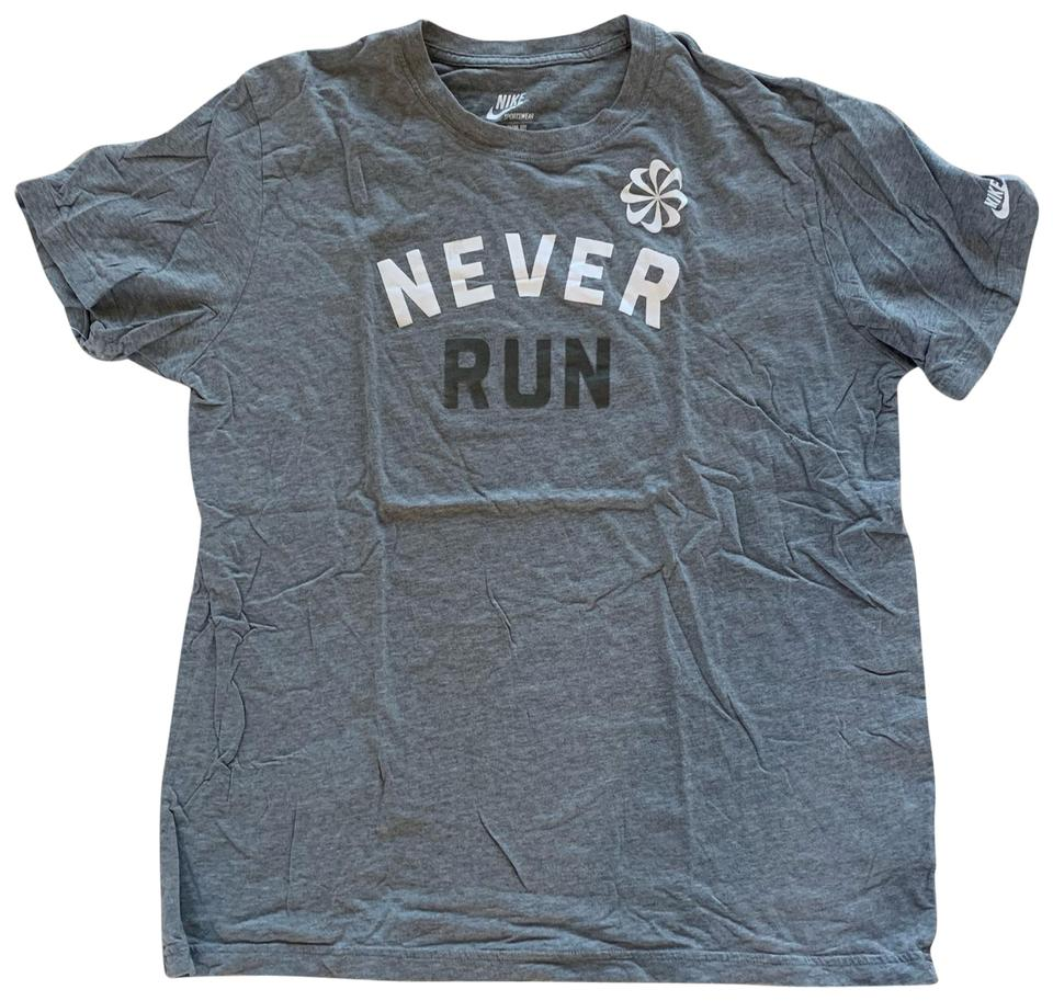 buy sale top brands cute Nike Gray and White XL Never Run Men's Tee Shirt Size 16 (XL, Plus 0x) 43%  off retail