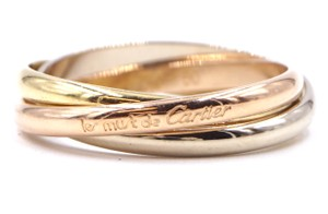 Cartier 18K Trinity white gold yellow rose pink gold ring size 50