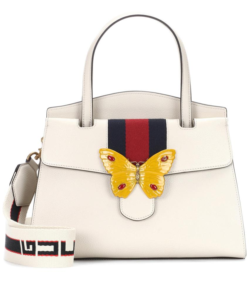 00b27e1117d Gucci Linea Medium Totem Yellow Butterfly Clasp White Convertible Calfskin  Leather Satchel