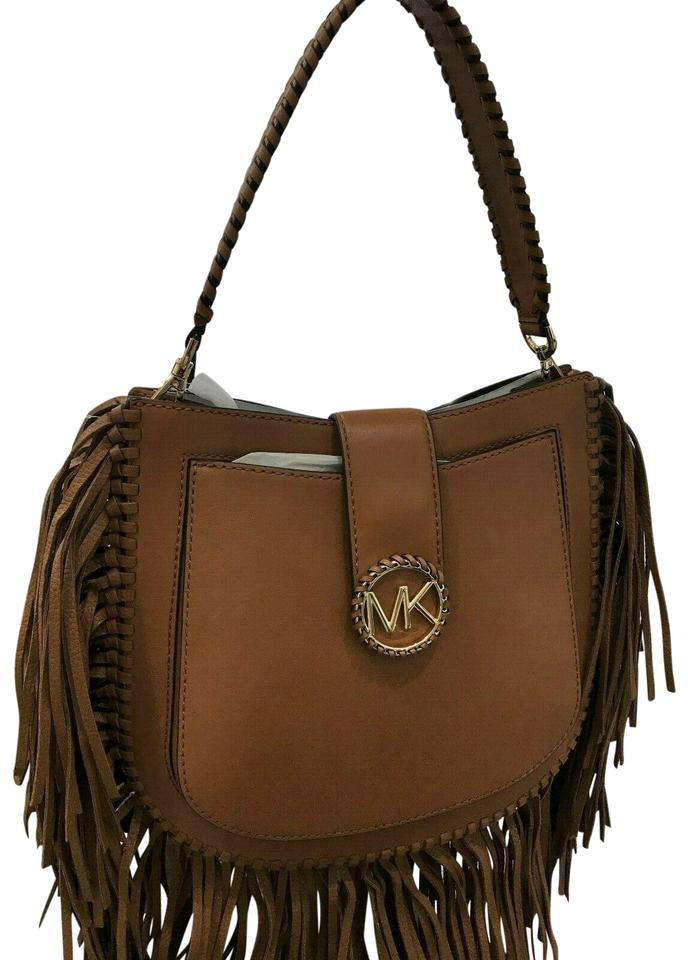 eea00823eb77 Michael Kors Messenger Hobo Lillie Medium Fringed Acorn Leather ...