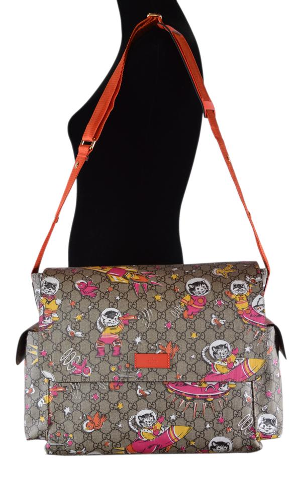 60bd3f571378d6 Gucci Messenger New Space Cats Purse Multicolor Coated Canvas Diaper ...