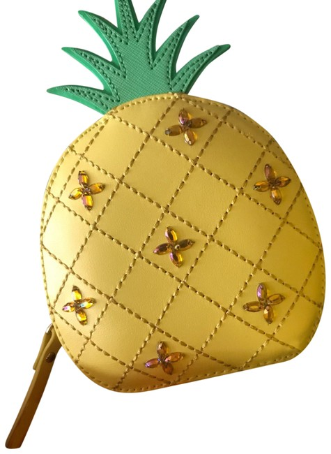 Item - Zippered Pineapple Coin Purse Yellow Leather Wristlet