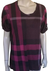 Burberry T Shirt Maroon Nova Check