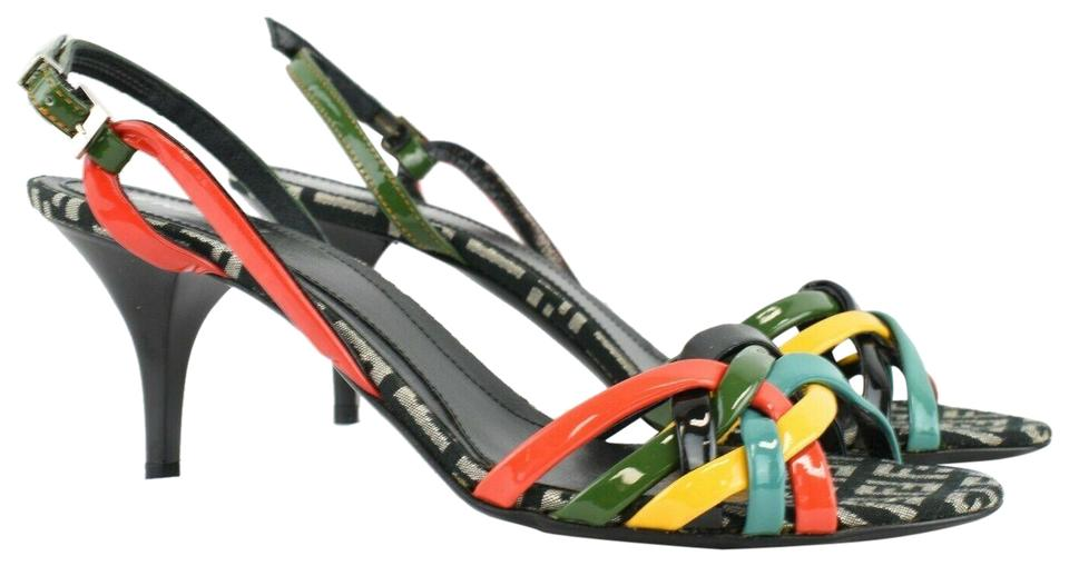a05308bdd4d Fendi Multicolor 8.5 Leather Strappy Heels Monogram Canvas Sandals ...