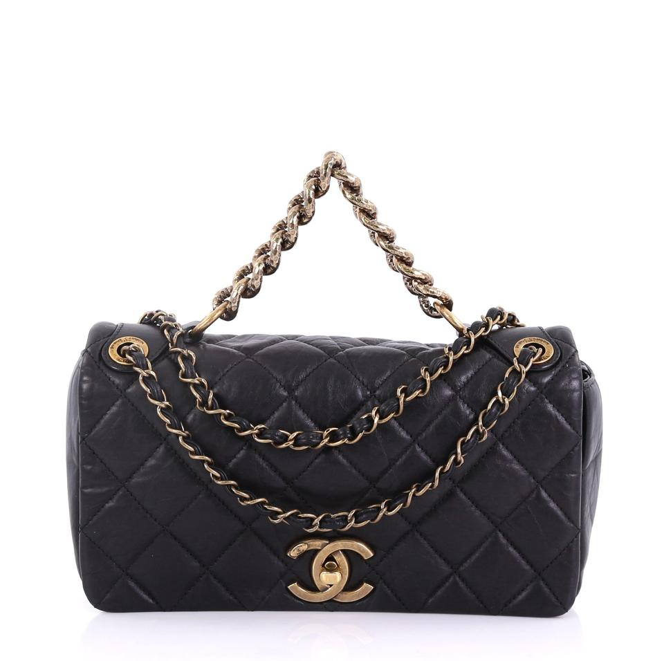 b66d28fe451cde Chanel Classic Flap Pondichery Quilted Aged Small Black Calfskin Leather  Shoulder Bag