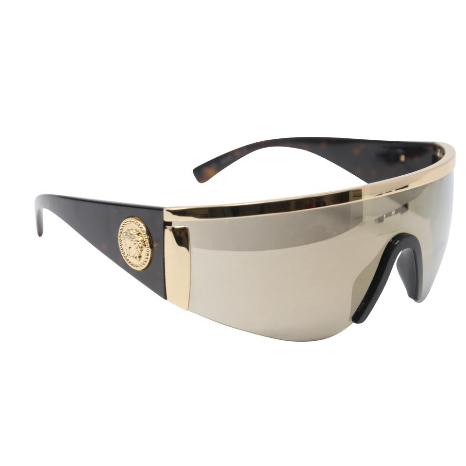 b3d3f4821a Versace Gold Havana Brown Mirror Classic  the Gianni Tribute Collection   Shield Wrap Sunglasses