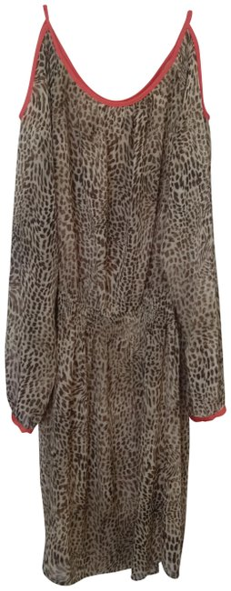 Item - Leopard Print with Orange Piping Cur Out Shoulders Mid-length Work/Office Dress Size 8 (M)