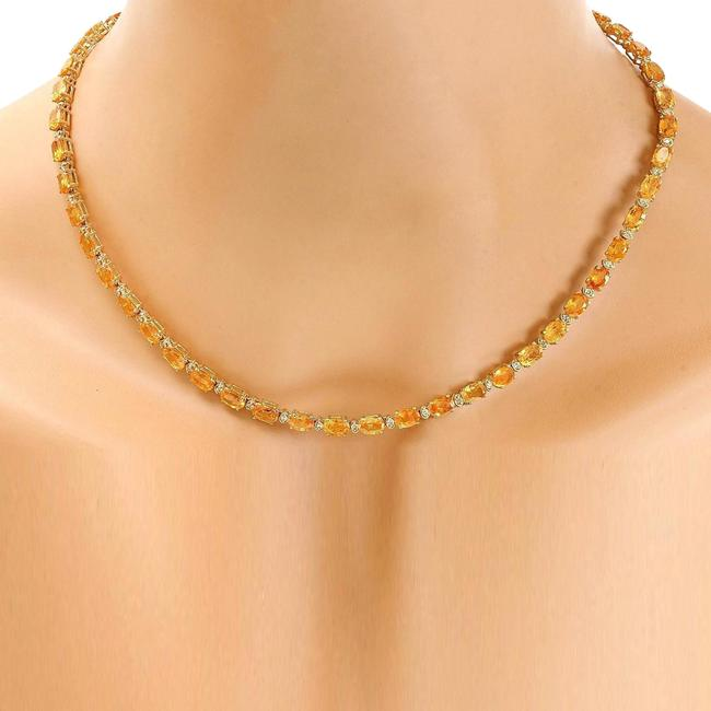Item - Yellow 41.25 Carat Natural Citrine 14k Solid Gold Diamond Necklace
