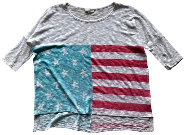 Item - Red Blue Light Gray American Flag Oversized Blouse Size 8 (M)