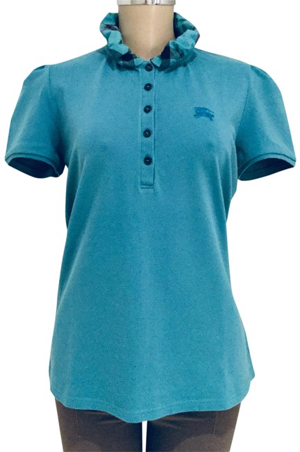Item - Cobalt Turquoise Brit Ruched Collar Polo Button-down Top Size 12 (L)