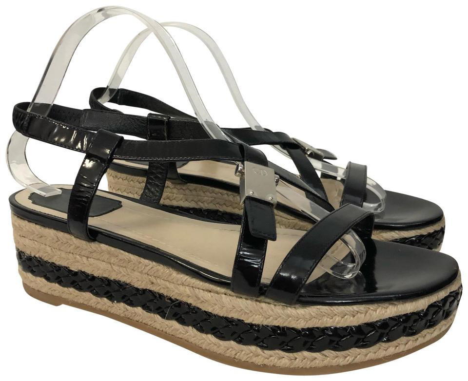fec1459c3c8 Dior Black Christian 9 9.5 Patent Leather Espadrille Sandals Wedges Size EU  40 (Approx. US 10) Regular (M, B) 84% off retail