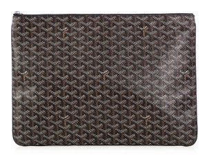 Goyard Black Coated Canvas and Leather Senat GM Pouch