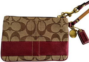 Coach Wristlet in Red & Brown
