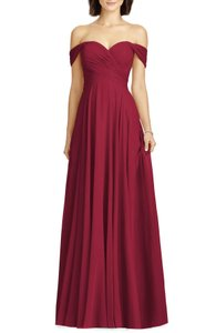 Dessy Burgundy Lux Off The Shoulder Chiffon Gown Feminine Bridesmaid/Mob Dress Size 4 (S)