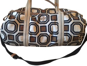 Tory Burch ivory/navy/tan Travel Bag