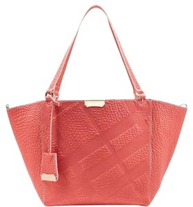 be89f4a8d973 Burberry Canterbury Grain Embossed Check Pink Rose Gold Leather Tote ...