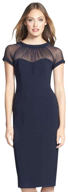 Item - Navy Dark Very Nice Round Neck V Back Lace Top Cap Sleeve Good For Work Or Up Short Cocktail Dress Size 16 (XL, Plus 0x)