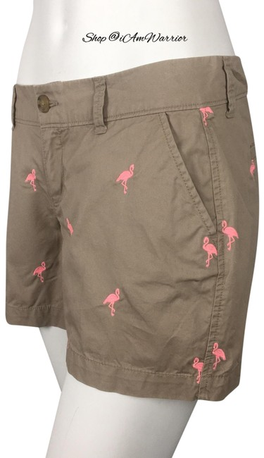 Item - Tan Pink Embroidered Flamingo Shorts Size 2 (XS, 26)