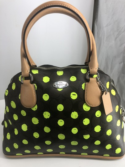Preload https://img-static.tradesy.com/item/25146035/dot-cora-dome-signature-print-brown-and-black-with-green-neon-yellow-dots-crossgrain-leather-satchel-0-3-540-540.jpg