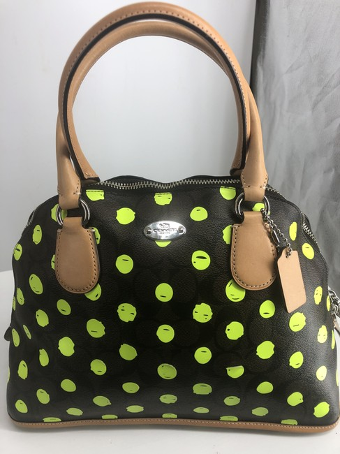 Coach Cora Dot Dome F33260 Signature Print Brown and Black with Green Neon Yellow Dots Crossgrain Leather Satchel Coach Cora Dot Dome F33260 Signature Print Brown and Black with Green Neon Yellow Dots Crossgrain Leather Satchel Image 1