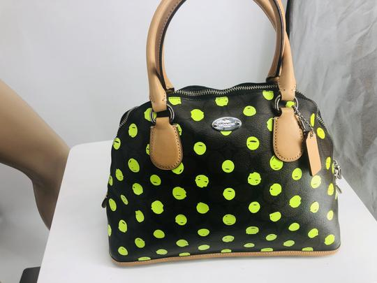 Coach Satchel in Signature print brown and black with green neon yellow dots Image 1