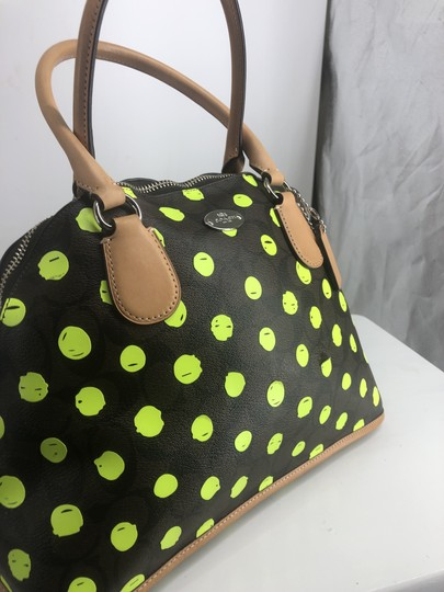 Coach Satchel in Signature print brown and black with green neon yellow dots Image 2
