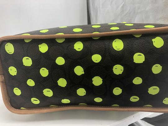 Coach Satchel in Signature print brown and black with green neon yellow dots Image 3