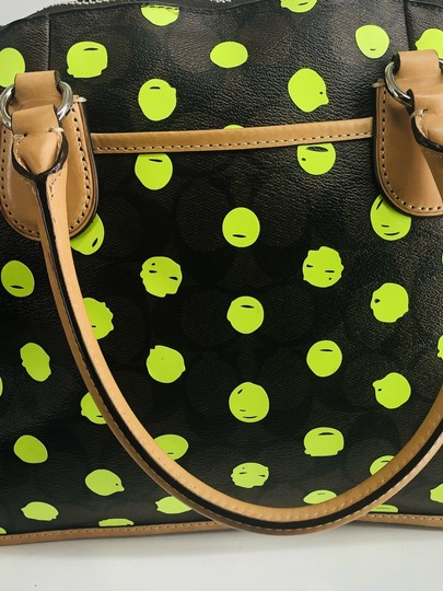 Coach Satchel in Signature print brown and black with green neon yellow dots Image 5