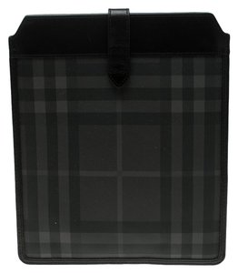 Burberry Black Beat Check Vinyl and Leather Ipad Pouch