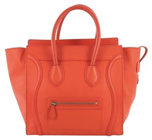 Céline Luggage Leather Tote in Orange