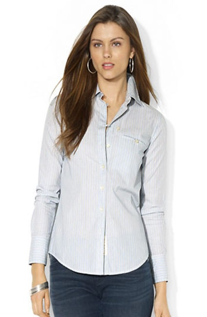 Item - Multi-color Blue Thin-striped Roll-up Sleeve Style No. 209200356nym Button-down Top Size 16 (XL, Plus 0x)