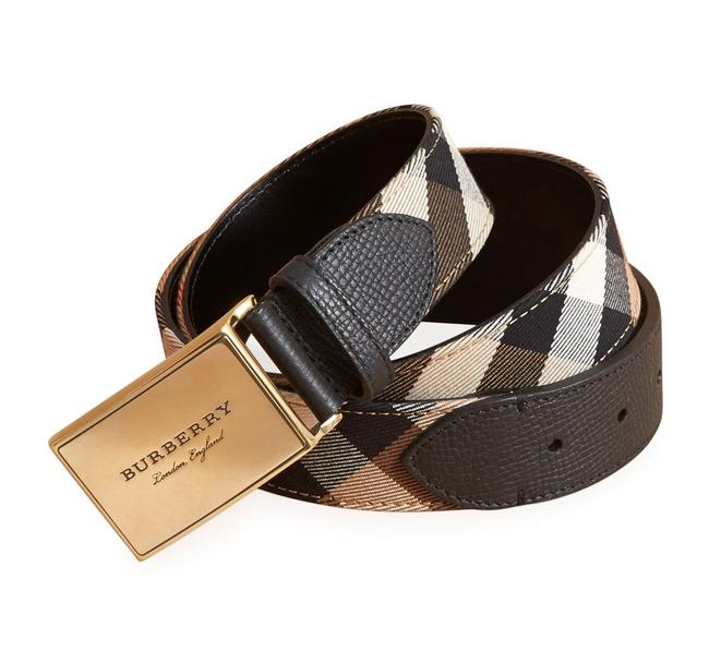 Item - Black/Multi Plaque Buckle House Check and Leather Belt