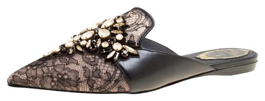 Preload https://img-static.tradesy.com/item/25146290/rene-caovilla-black-lace-and-leather-crystal-embellished-pointed-toe-slide-mules-flats-size-eu-37-ap-0-1-540-540.jpg