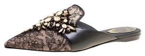 Rene Caovilla Leather Lace Crystal Mesh Black Flats