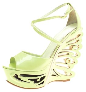 Le Silla Patent Leather Leather Green Sandals
